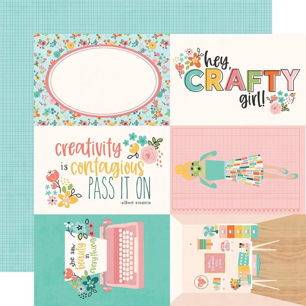 "Papel Estampado Doble Cara 12x12 Hey, Crafty Girl 4""X6"" Elements"