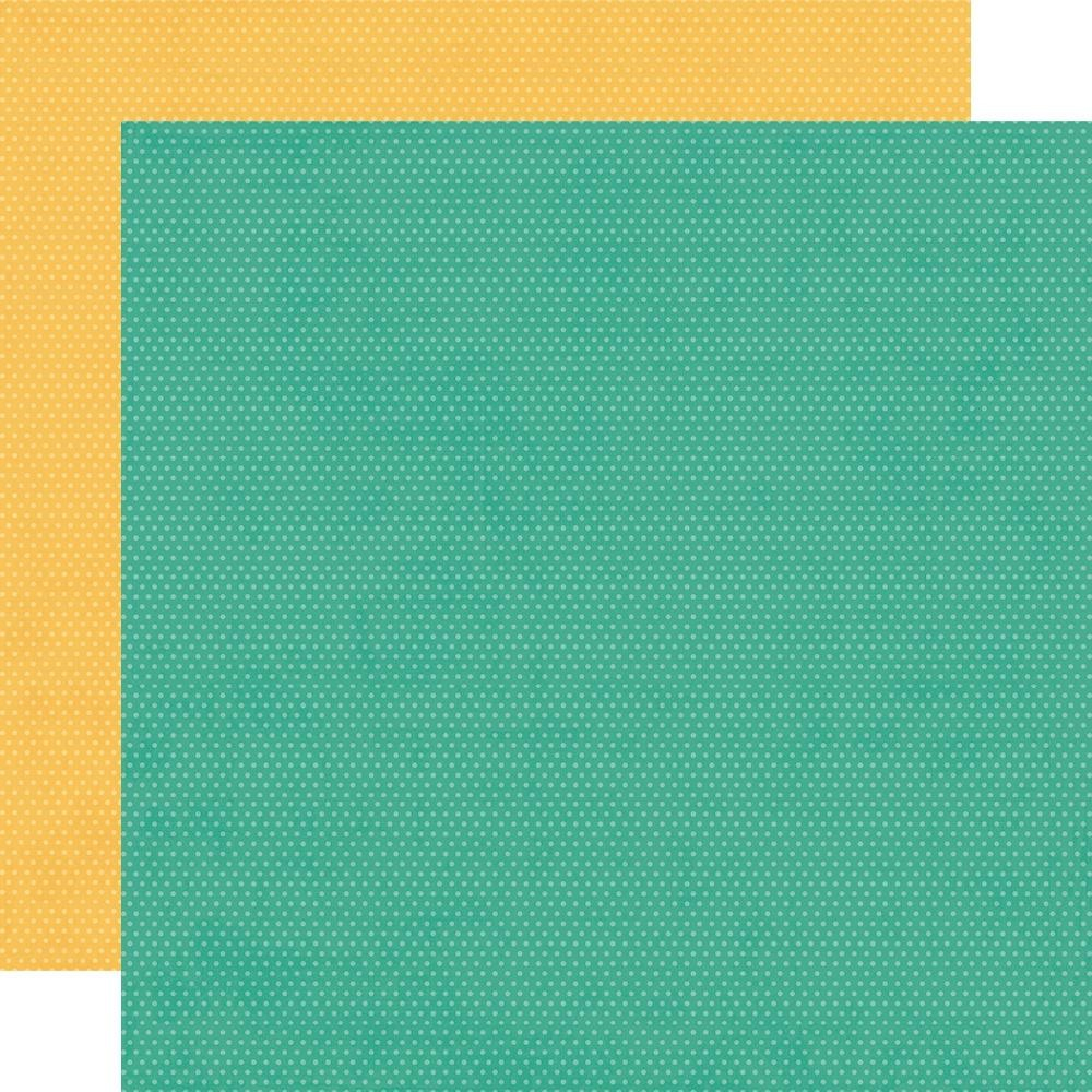 Papel Estampado Doble Cara 12x12 Hey, Crafty Girl Turquoise and Sunflower Dots Simple Basics