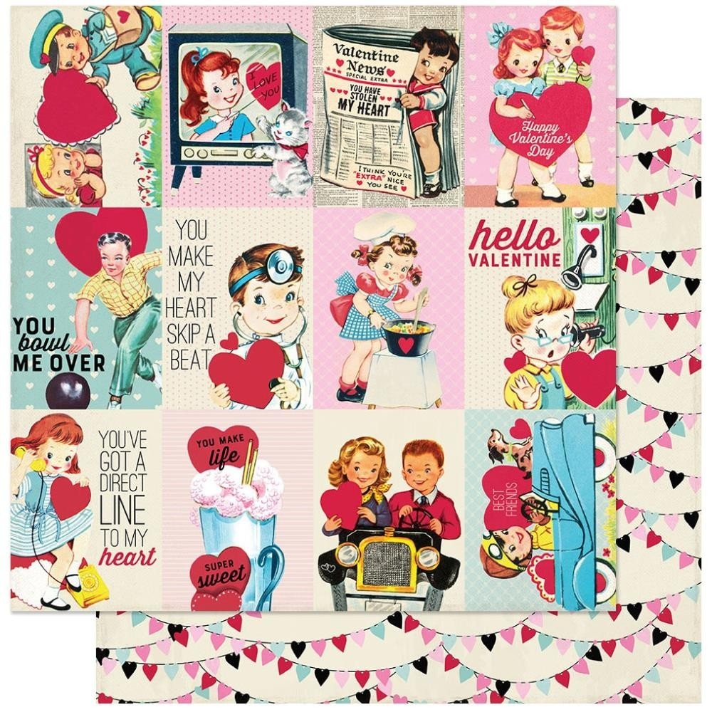 "Papel Estampado Doble Cara 12x12 Love Notes #7 3""X4"" Cut-Aparts"