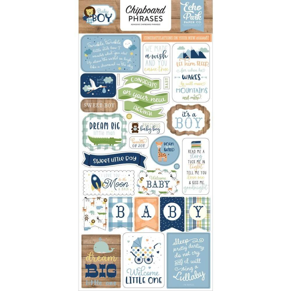 Chipboard 6x13 Baby Boy Phrases