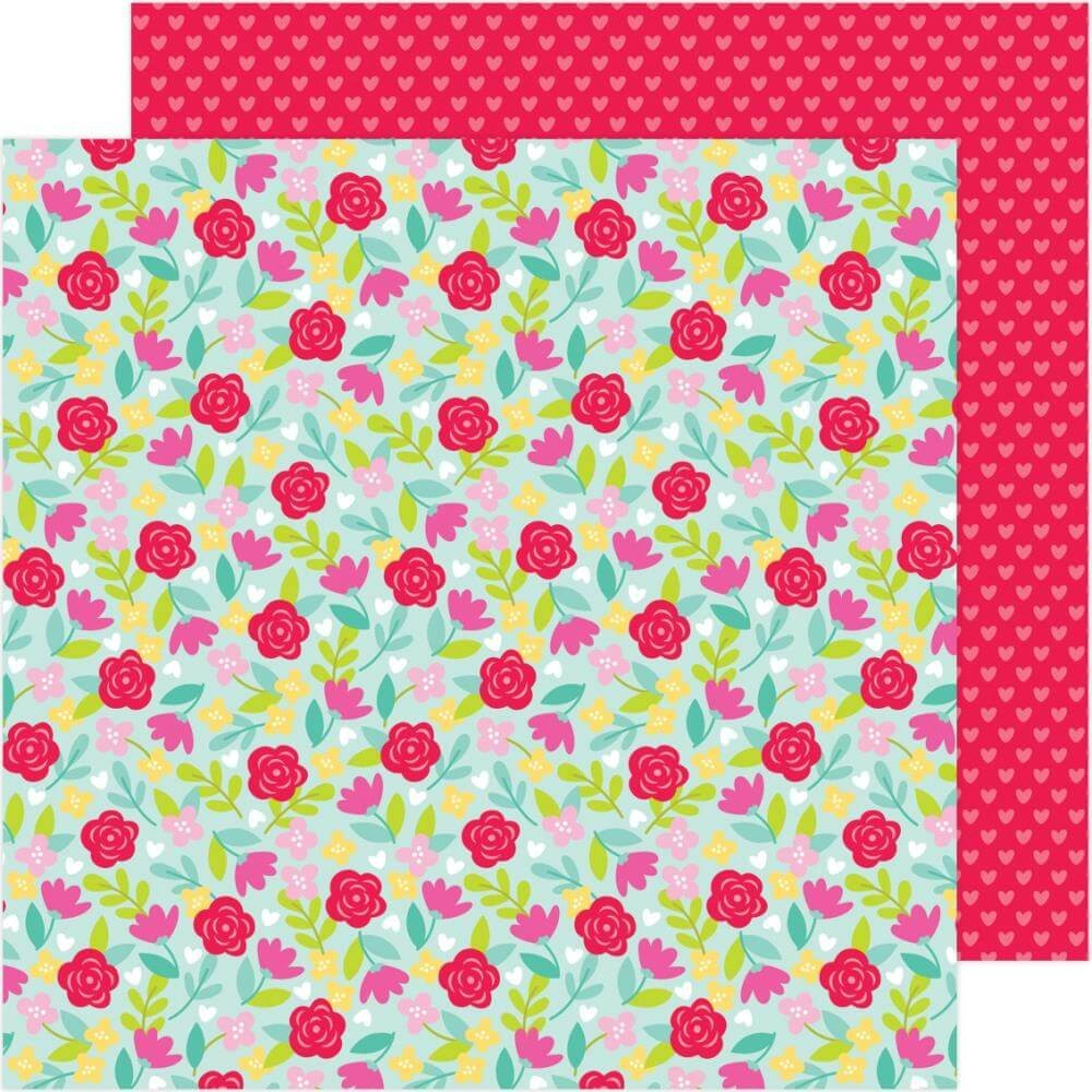 Papel Estampado Doble Cara 12x12 Love Notes Rose Garden