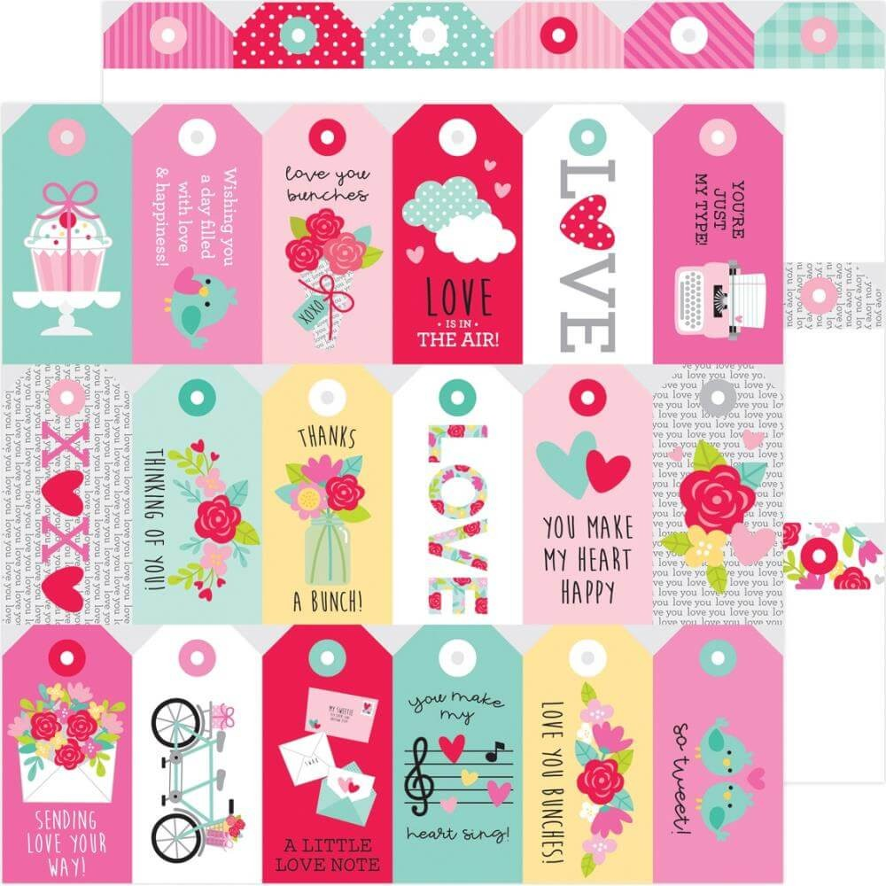 Papel Estampado Doble Cara 12x12 Love Notes Kissing Tag