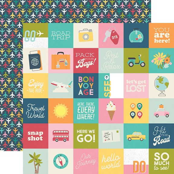 "Papel Estampado Doble Cara 12x12 Going Places 2""X2"" Elements"