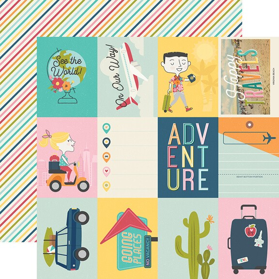 "Papel Estampado Doble Cara 12x12 Going Places 3""X4"" Elements"