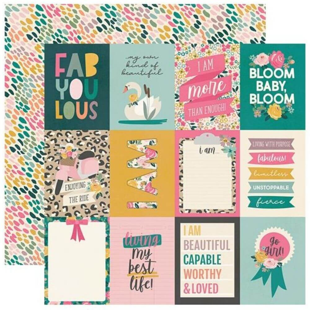 "Papel Estampado Doble Cara 12x12 I Am 2020 3""X4"" Elements"