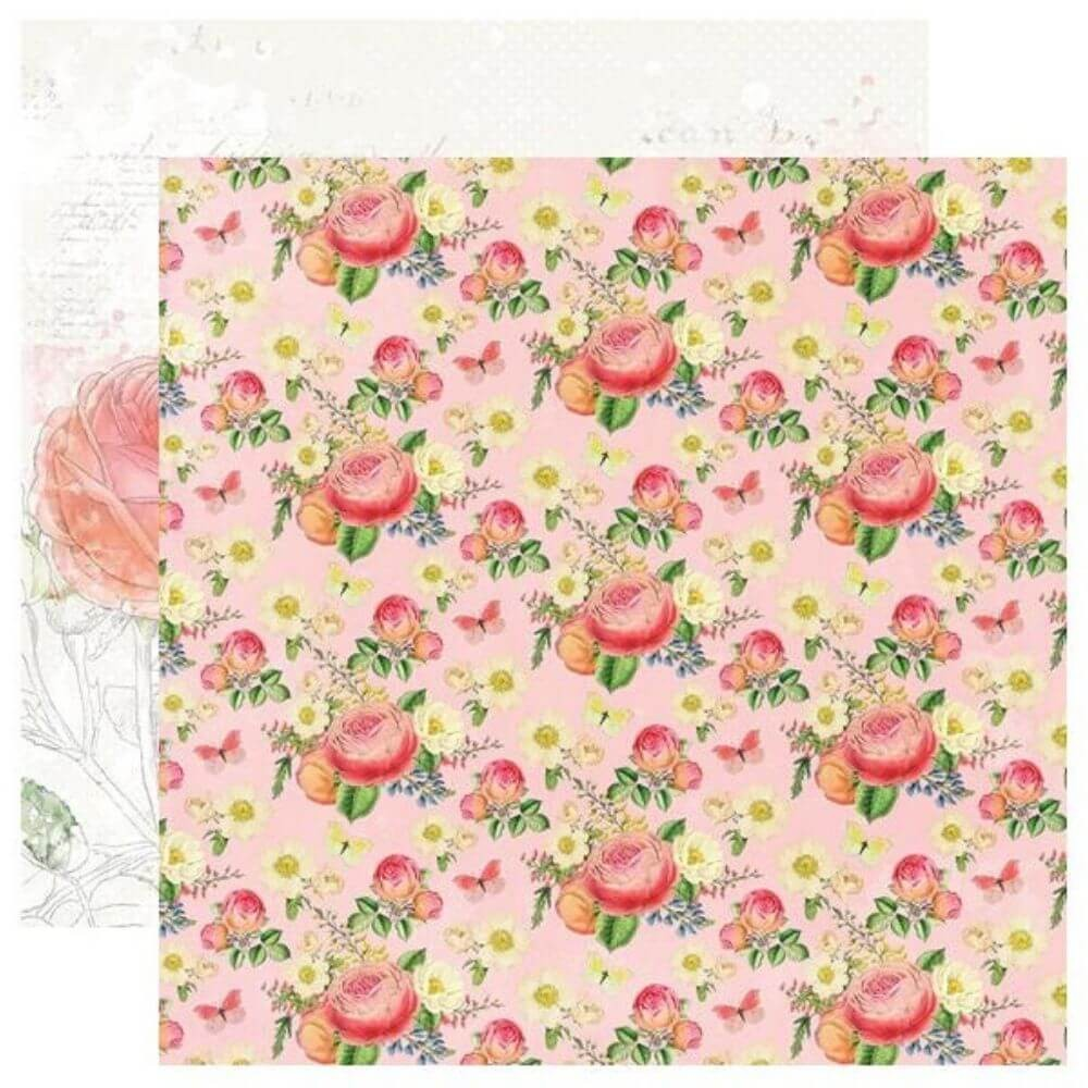 Papel Estampado Doble Cara 12x12 Simple Vintage Garden District Choose Happy