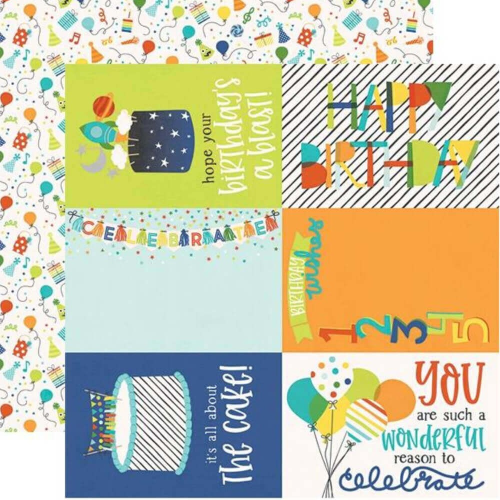 "Papel Estampado Doble Cara 12x12 Birthday Blast 4""X6"" Elements"