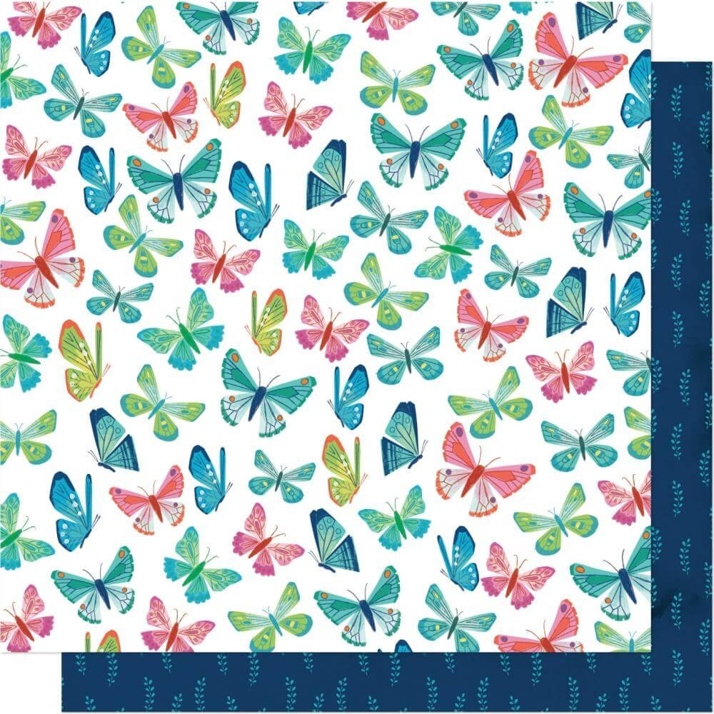 Papel Estampado Doble Cara 12x12 Never Grow Up Shimelle Flutter By