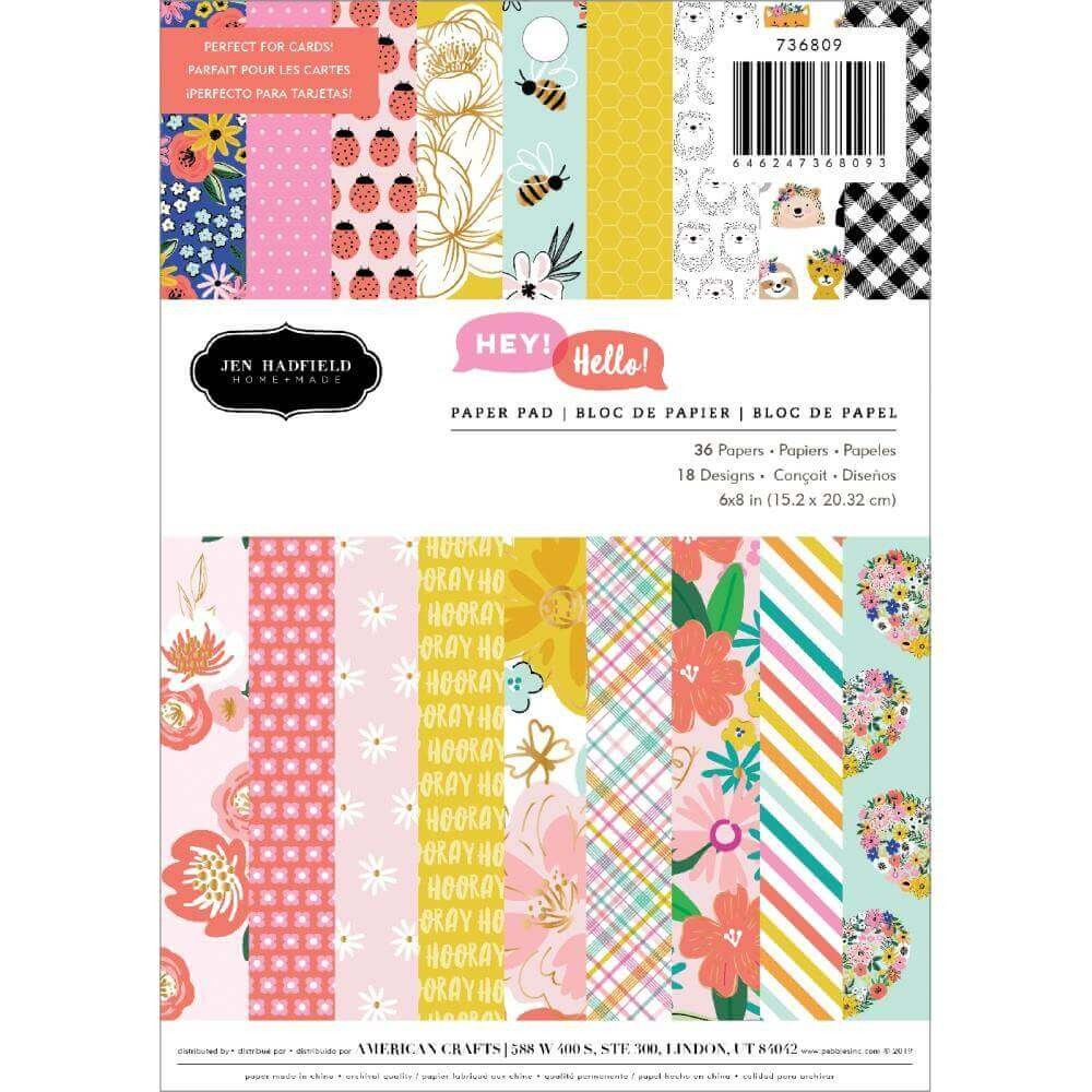 Stack Papeles Estampados 6x8 Una cara Hey, Hello! Jen Hadfield