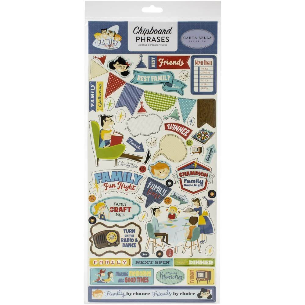 Chipboard 6x13 Family Night Phrases