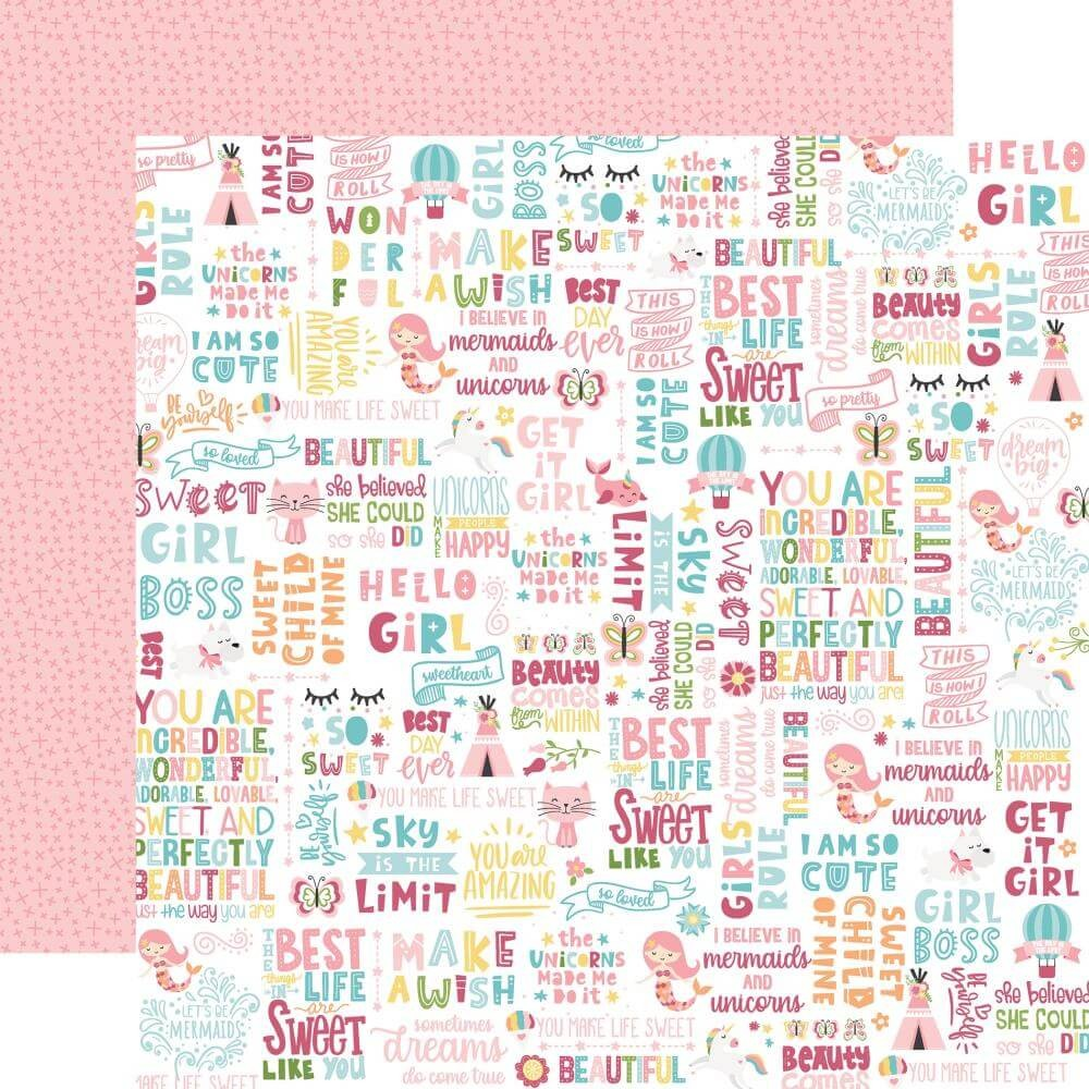 Papel Estampado Doble Cara 12x12 All Girl Hello Girl