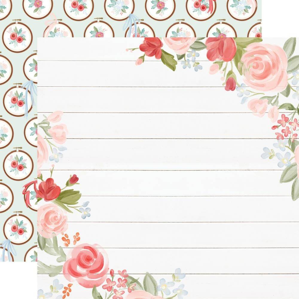 Papel Estampado Doble Cara 12x12 Farmhouse Market Floral Corners