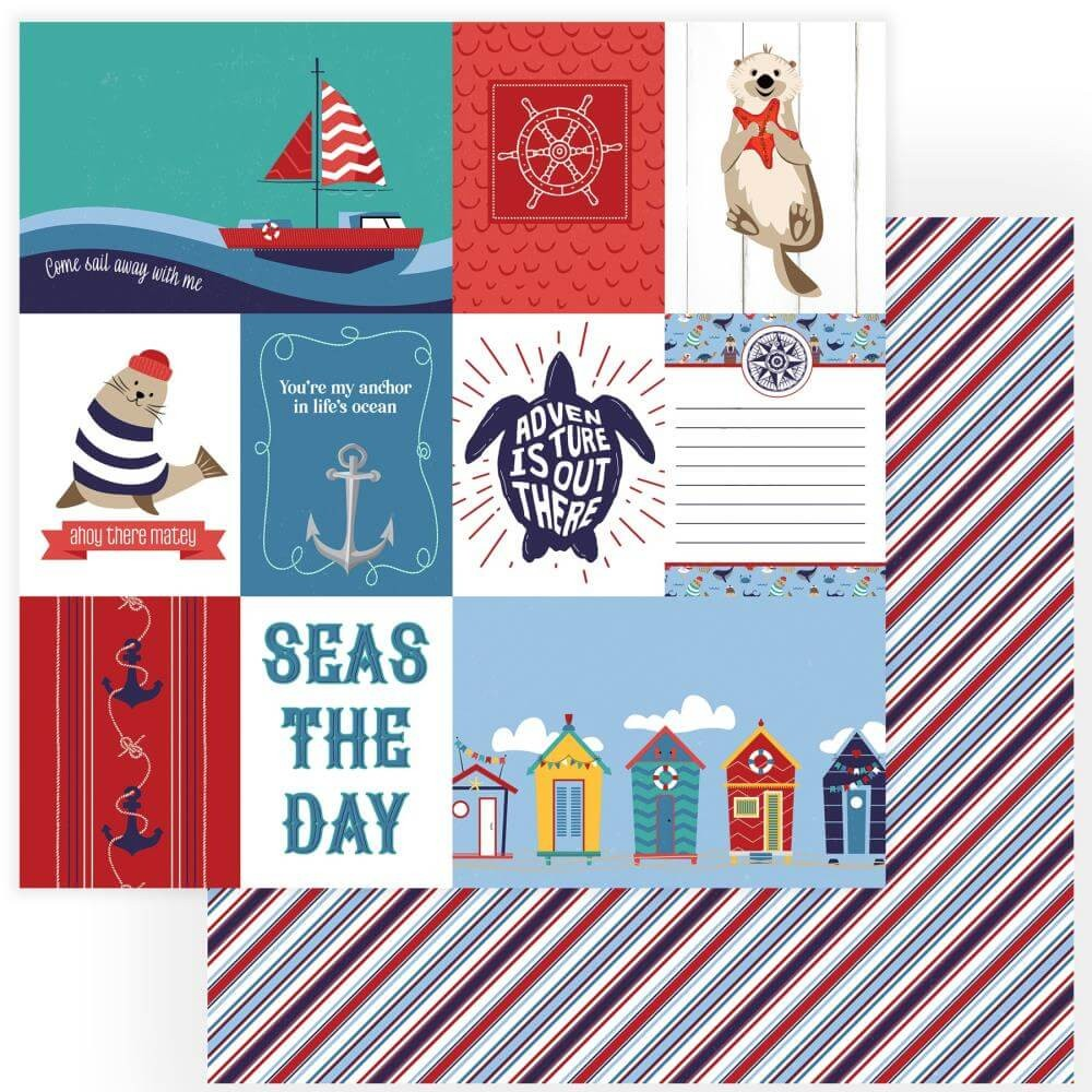 Papel Estampado Doble Cara 12x12 Monterey Bay Seas The Day