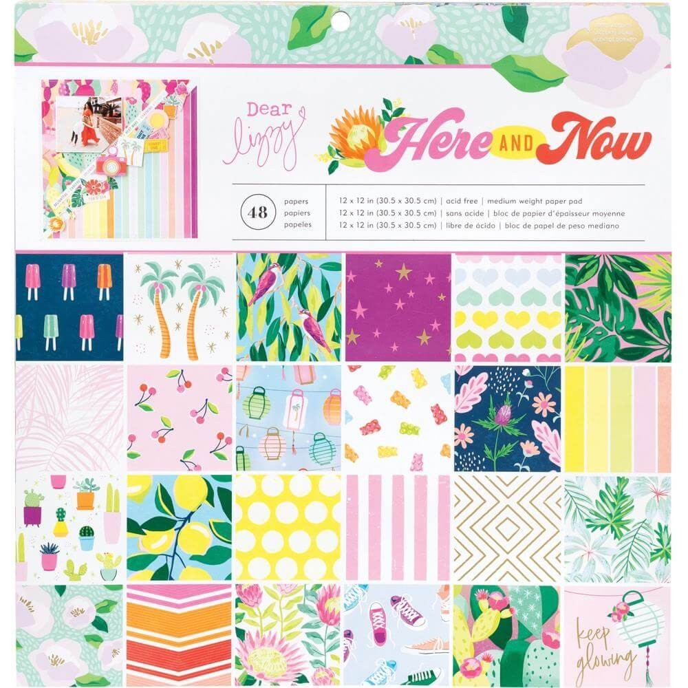 Stack Papeles Estampados 12x12 Una cara Here & Now Dear Lizzy