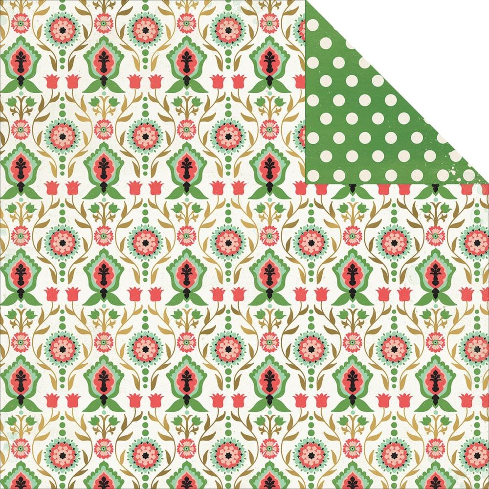 Papel estampado Doble cara 12x12 Jubilee Mint Julep Wild Tribal Foil