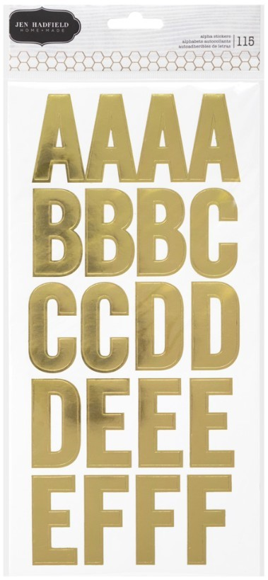 Letras adhesivas Thickers Homemade Large Alpha Stickers Gold