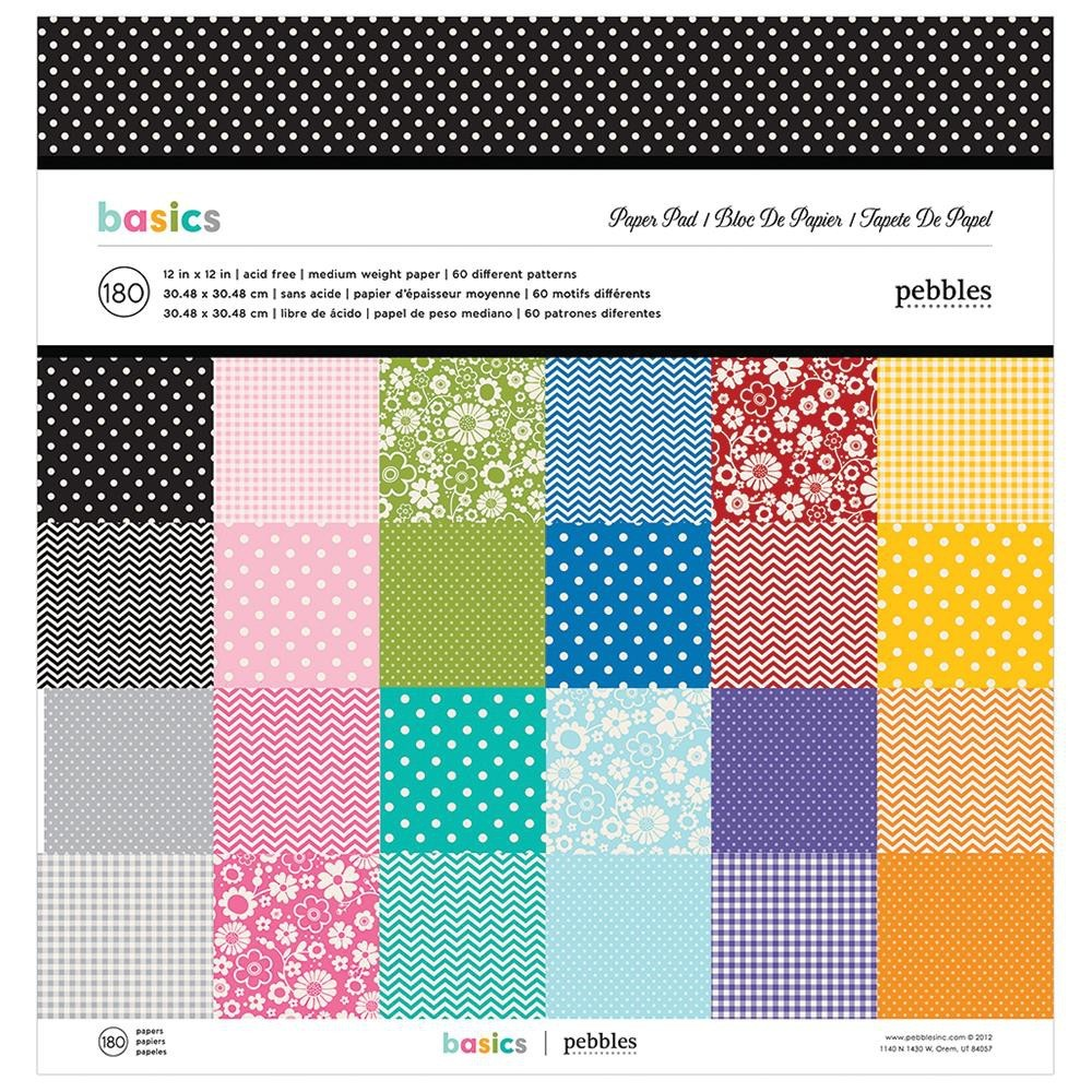 Stack 180 papeles estampados 12x12 The best of Pebbles Basics