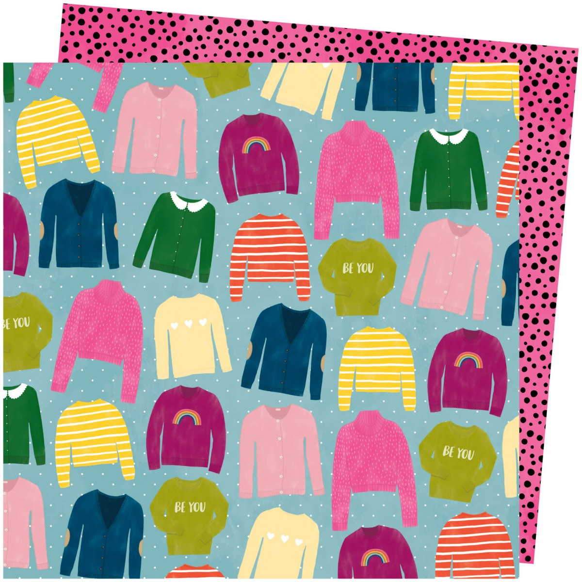 Papel Estampado Doble Cara 12x12 Slice Of Life Amy Tangerine Knit Wit