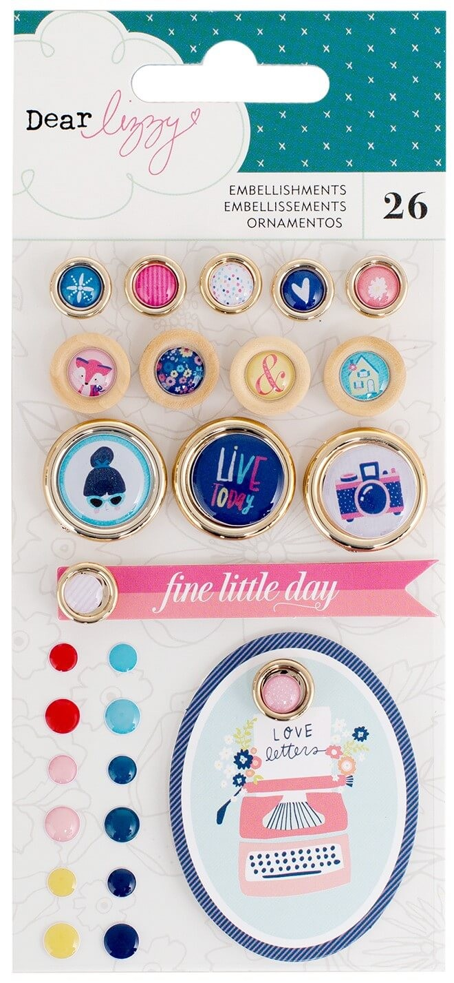 Adornos Lovely Day   Enamel Dots. Buttons & Tags