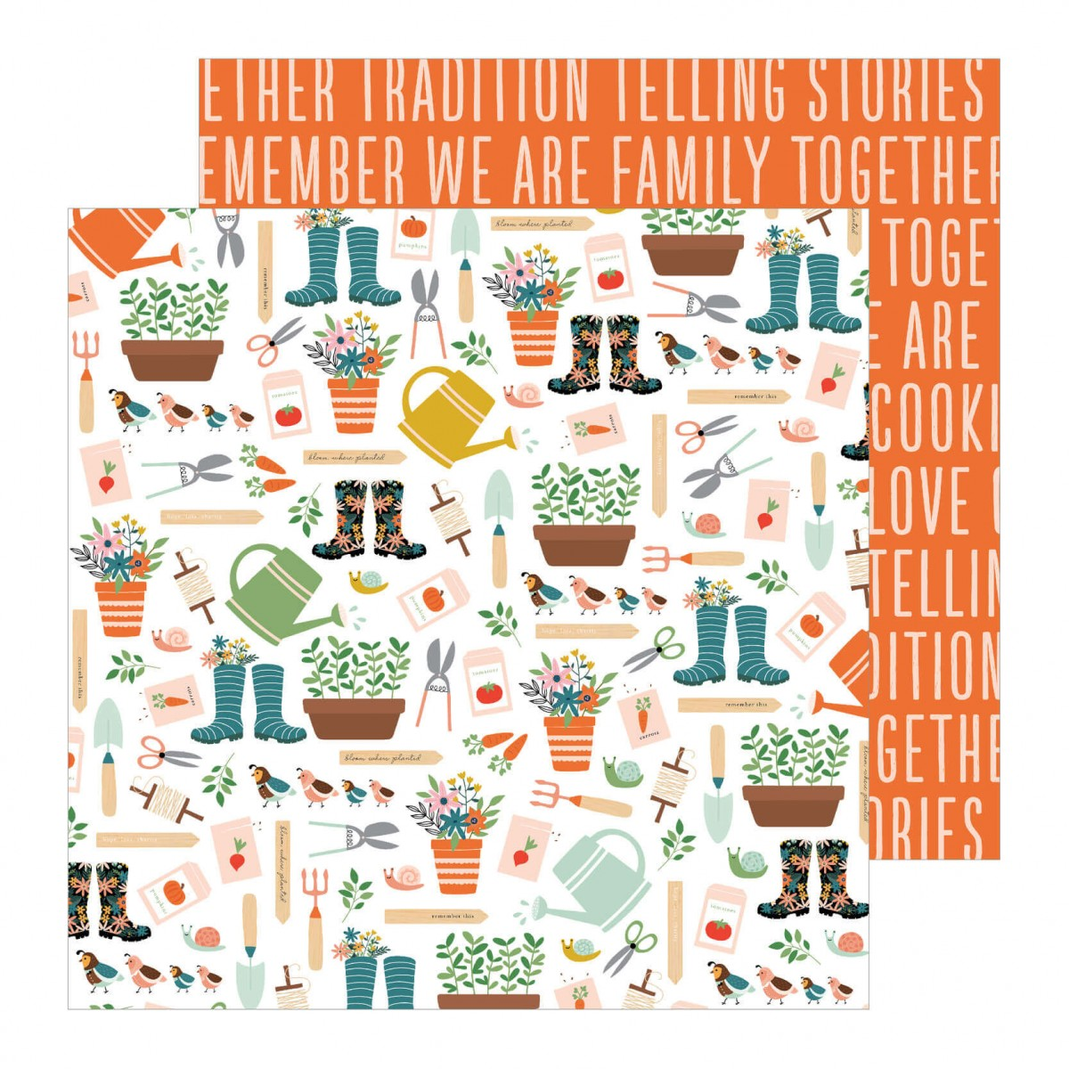 Papel Estampado Doble Cara 12x12 This Is Family Growing Together