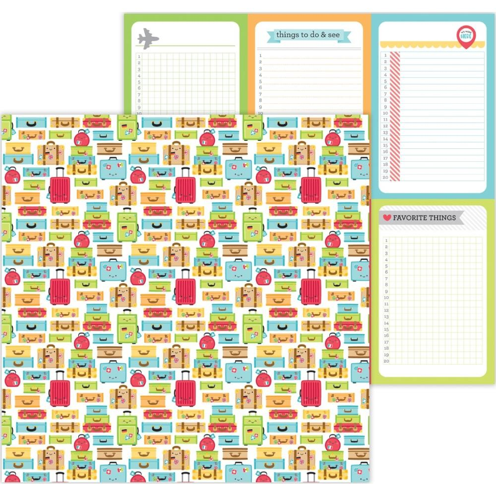 Papel Estampado Doble Cara 12x12 I Heart Travel Vacation Time