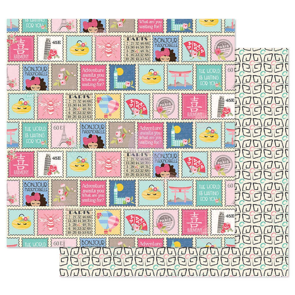 Papel Estampado Doble Cara 12x12 Traveling Girl Write Me Soon