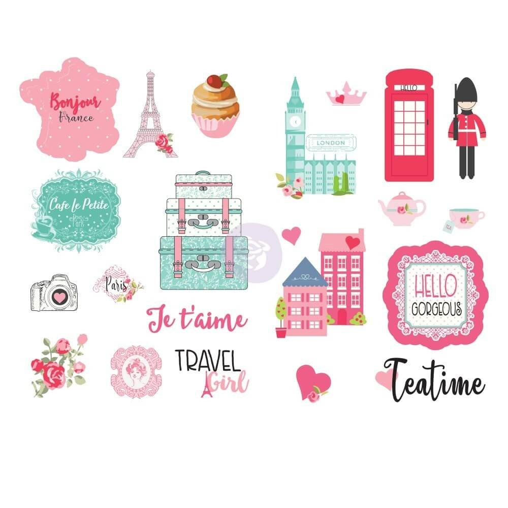 Pegatinas Traveling Girl Words & Icons