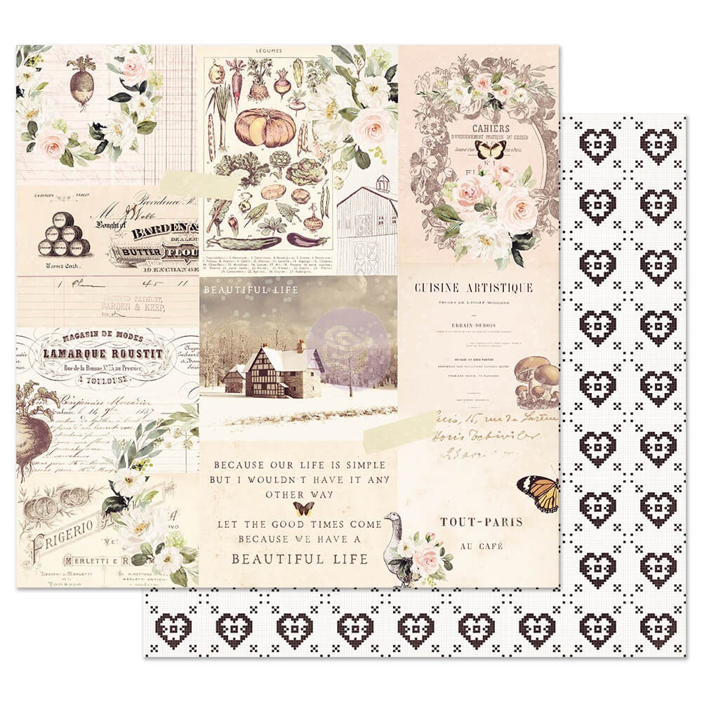 Papel Estampado Doble Cara 12x12 Spring Farmhouse Wander