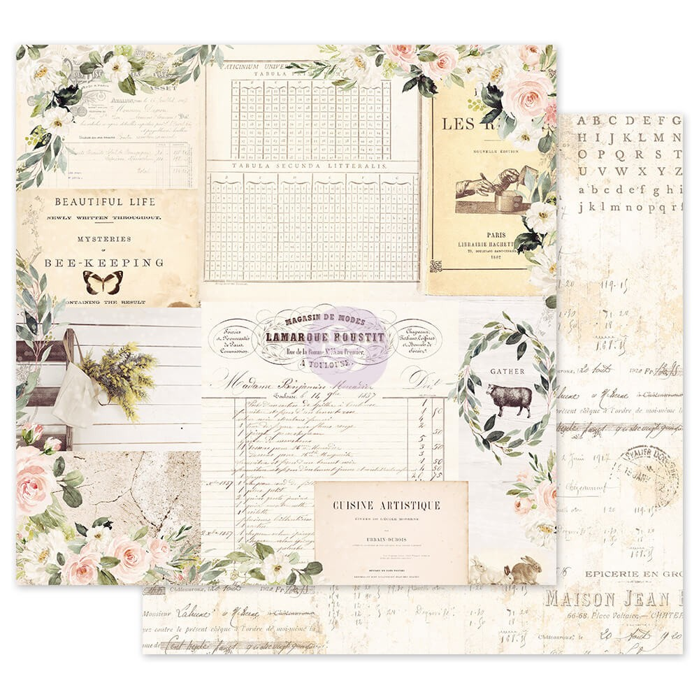 Papel Estampado Doble Cara 12x12 Spring Farmhouse Gather