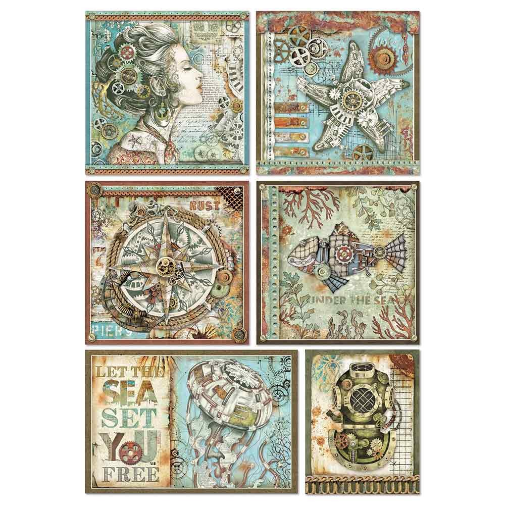 Papel de arroz decoupage A4 Mechanical Sea World Frames