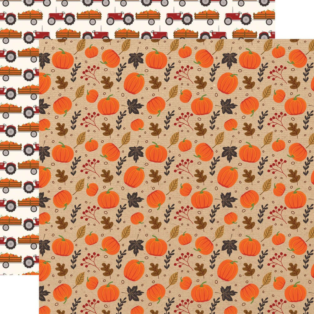 Papel Estampado Doble Cara 12x12 My Favorite Fall Pumpkin Patch