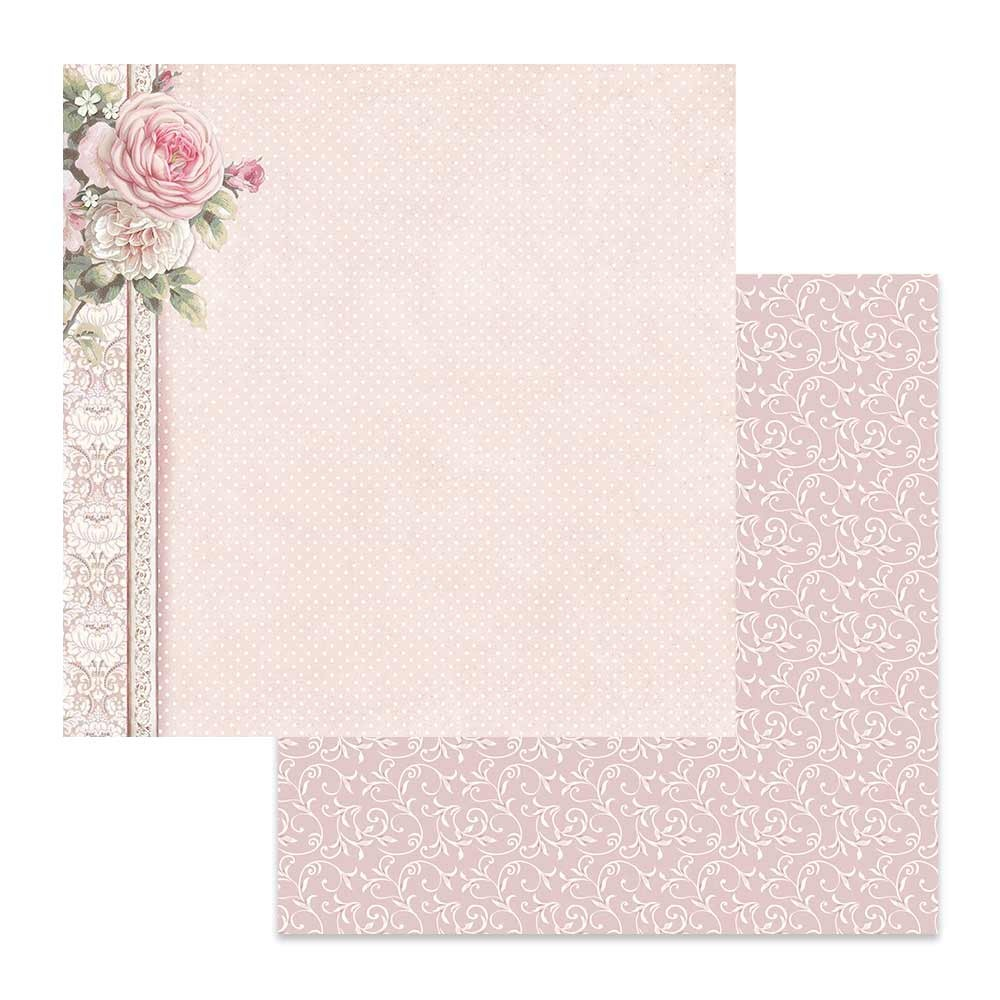 Papel Estampado Doble Cara 12x12 Wedding Polka Dots With Pink Border