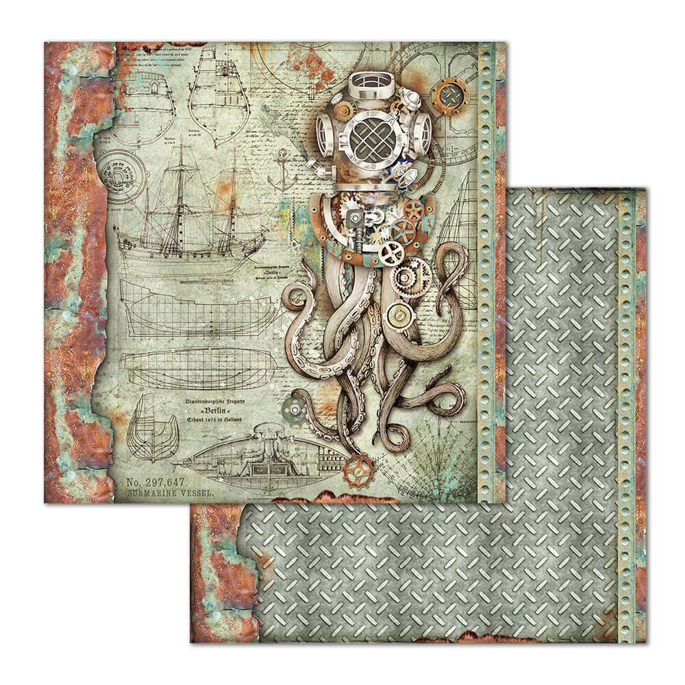 Papel Estampado Doble Cara 12x12 Mechanical Sea World Octopus