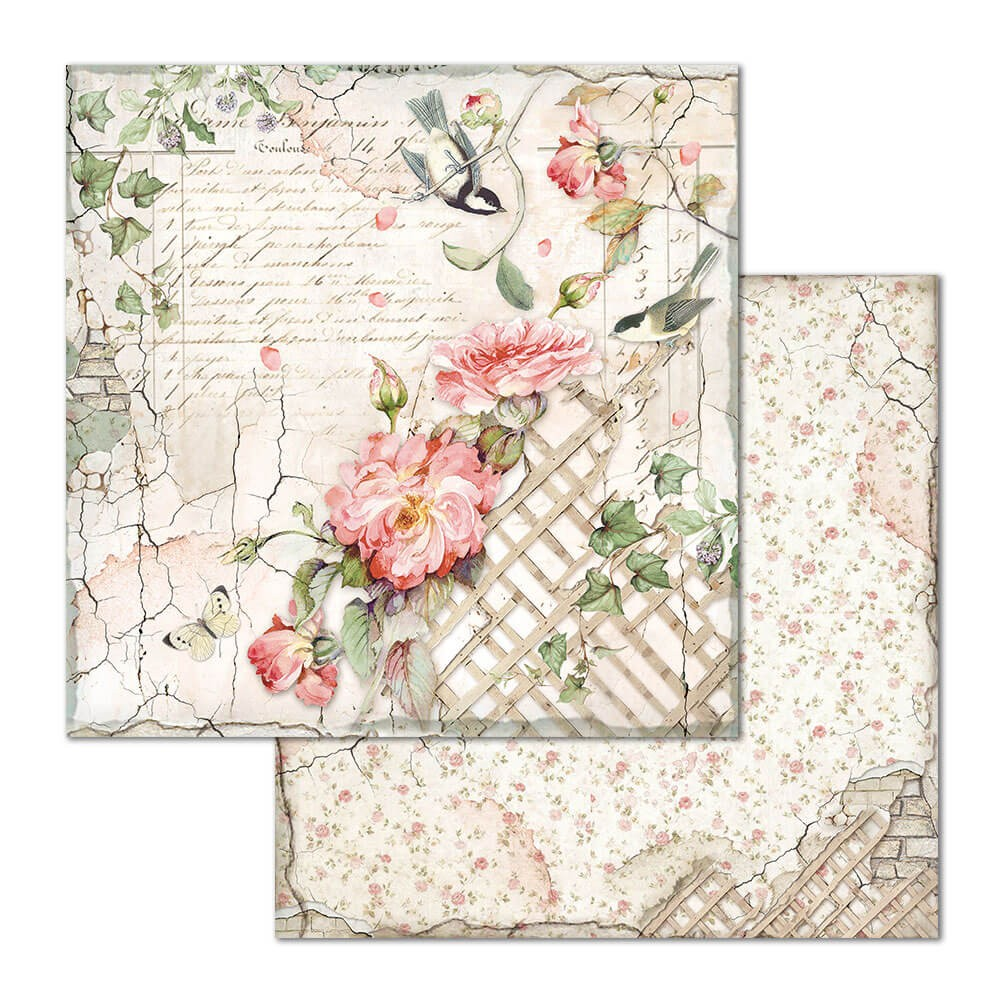 Papel Estampado Doble Cara 12x12 House Of Roses Fence With Little Bird