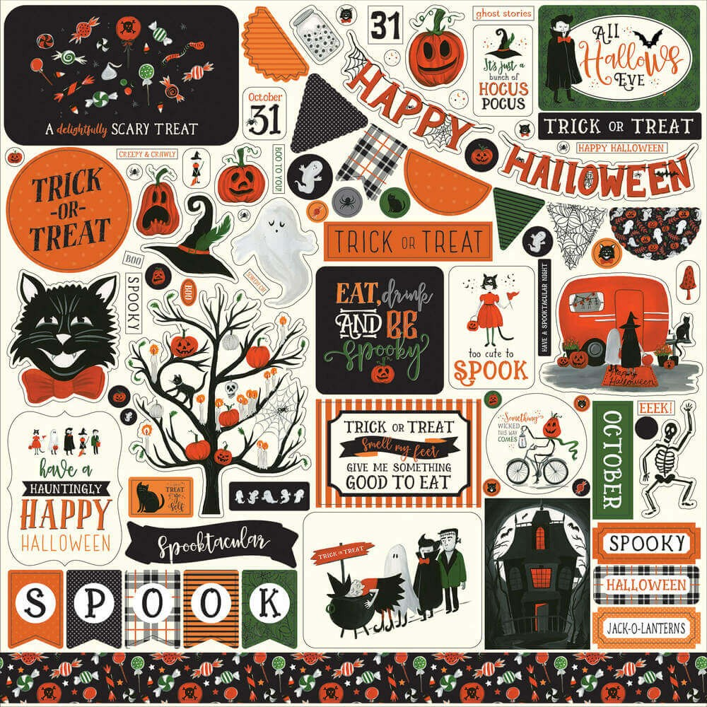 Pegatinas 12x12 Trick Or Treat Elements