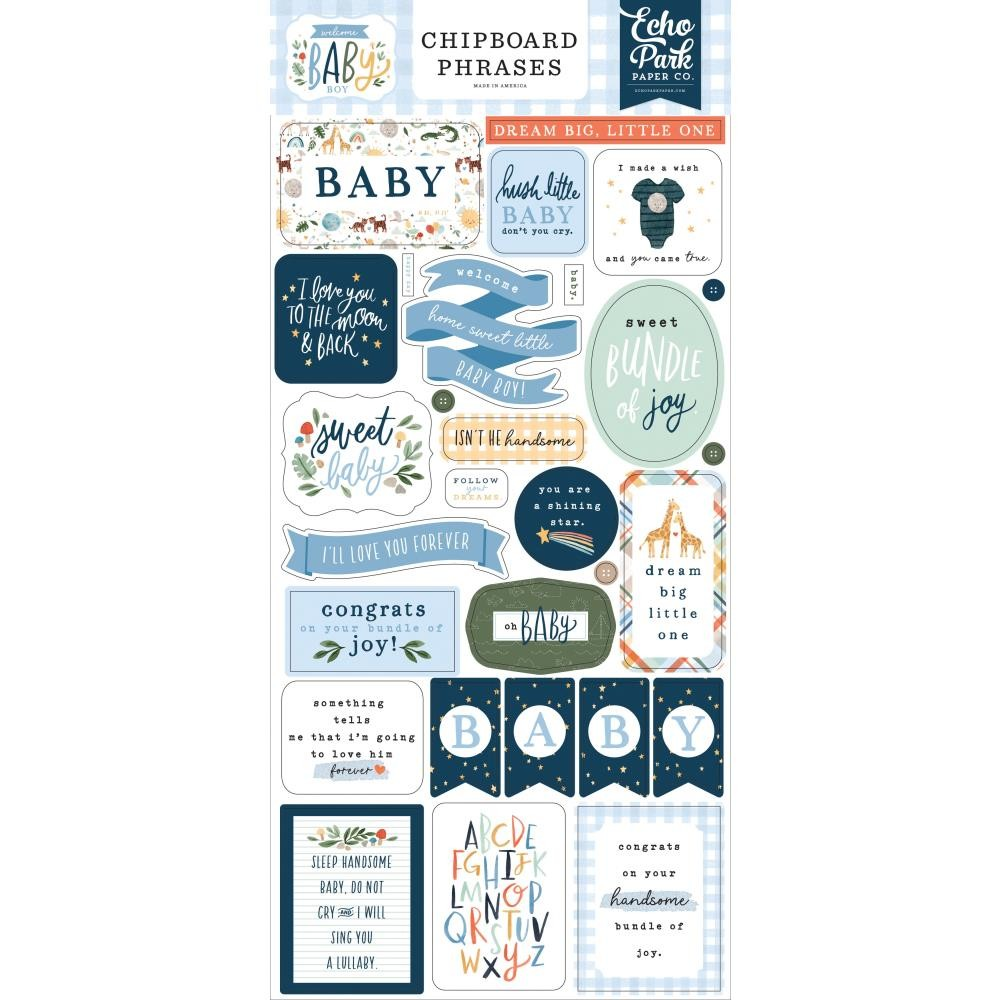 Chipboard 6x13 Welcome Baby Boy Phrases