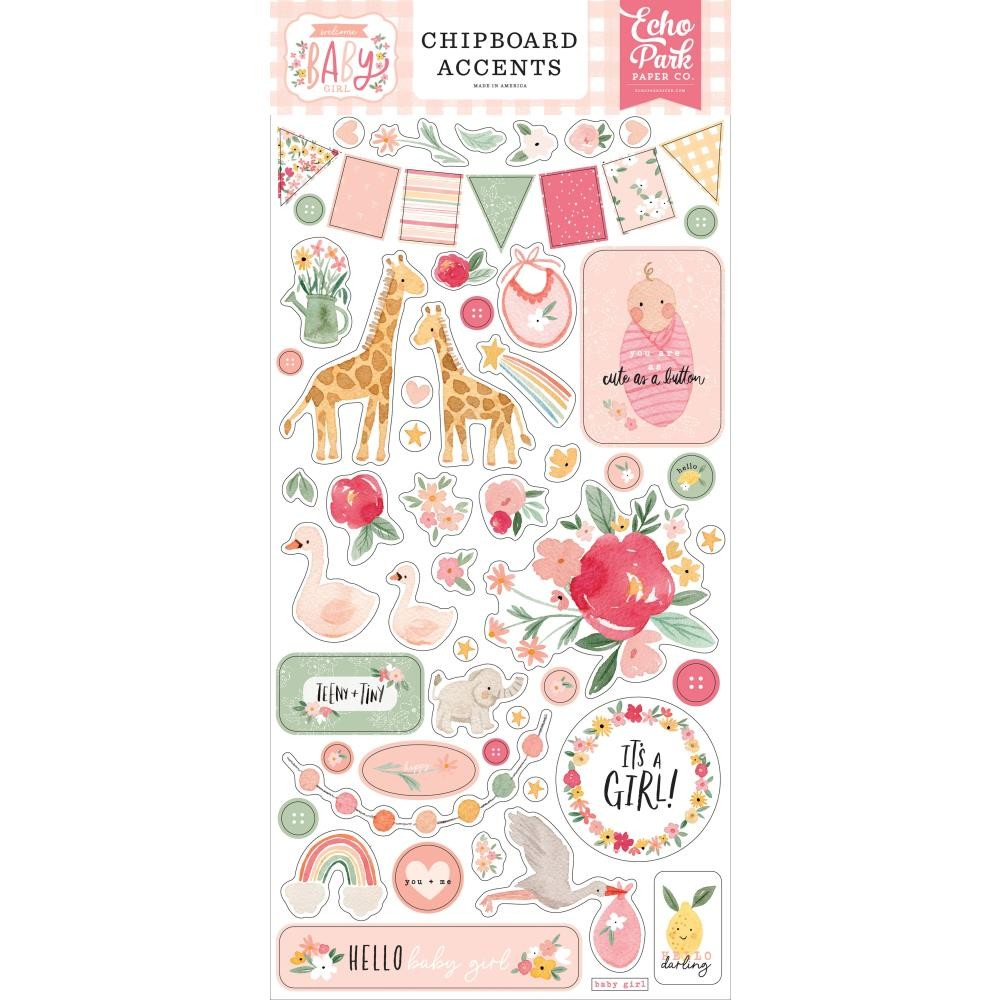 Chipboard 6x13 Welcome Baby Girl Accents