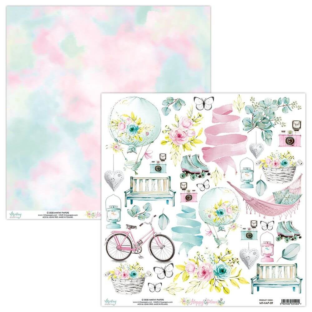 Papel Estampado Doble Cara 12x12 Happy Place Elementos