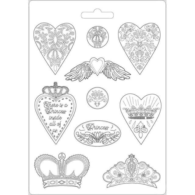 Molde A4 Princess ST Hearts and Crowns
