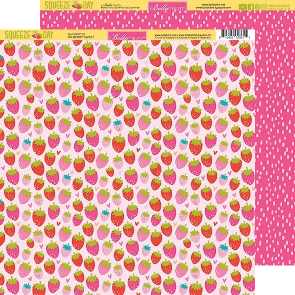 Papel Estampado Doble Cara 12x12 Squeeze The Day So Berry Sweet
