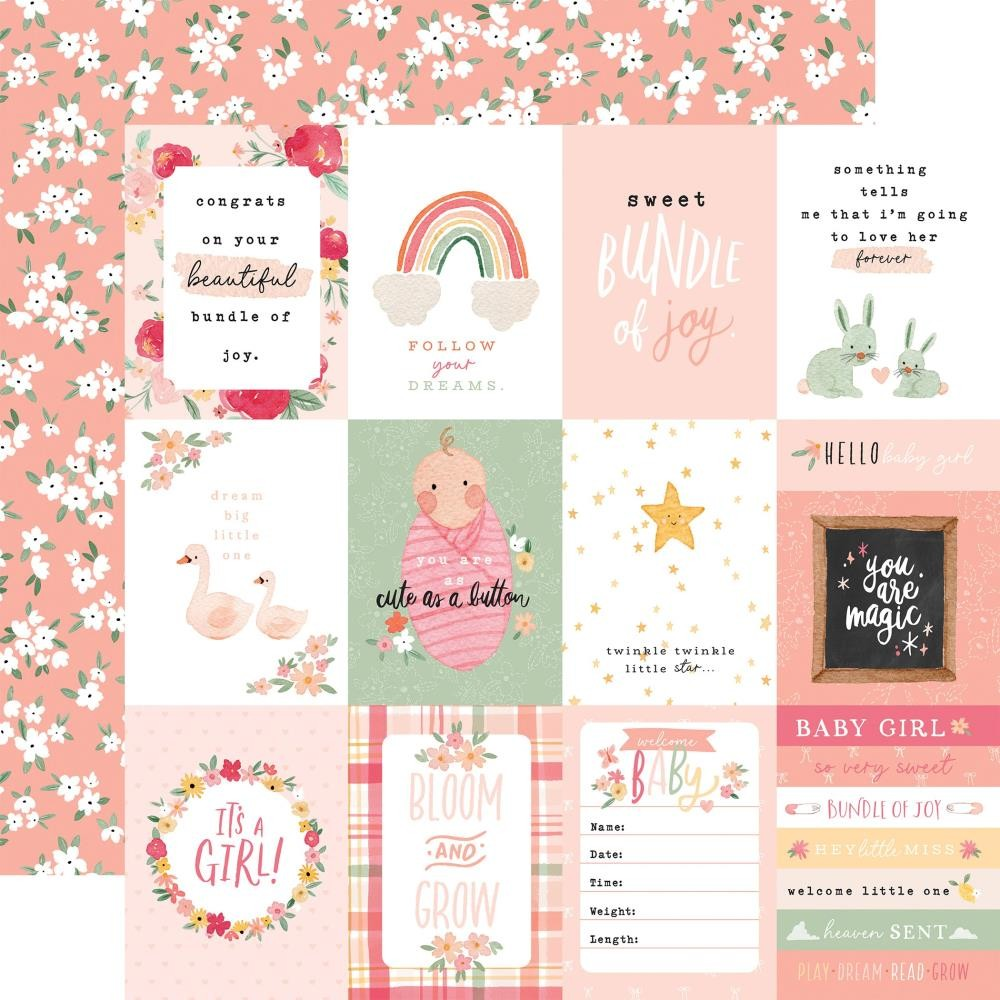 "Papel Estampado Doble Cara 12x12 Welcome Baby Girl 3""X4"" Journaling Cards"