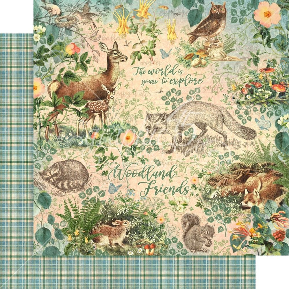 Papel Estampado Doble Cara 12x12 Woodland Friends