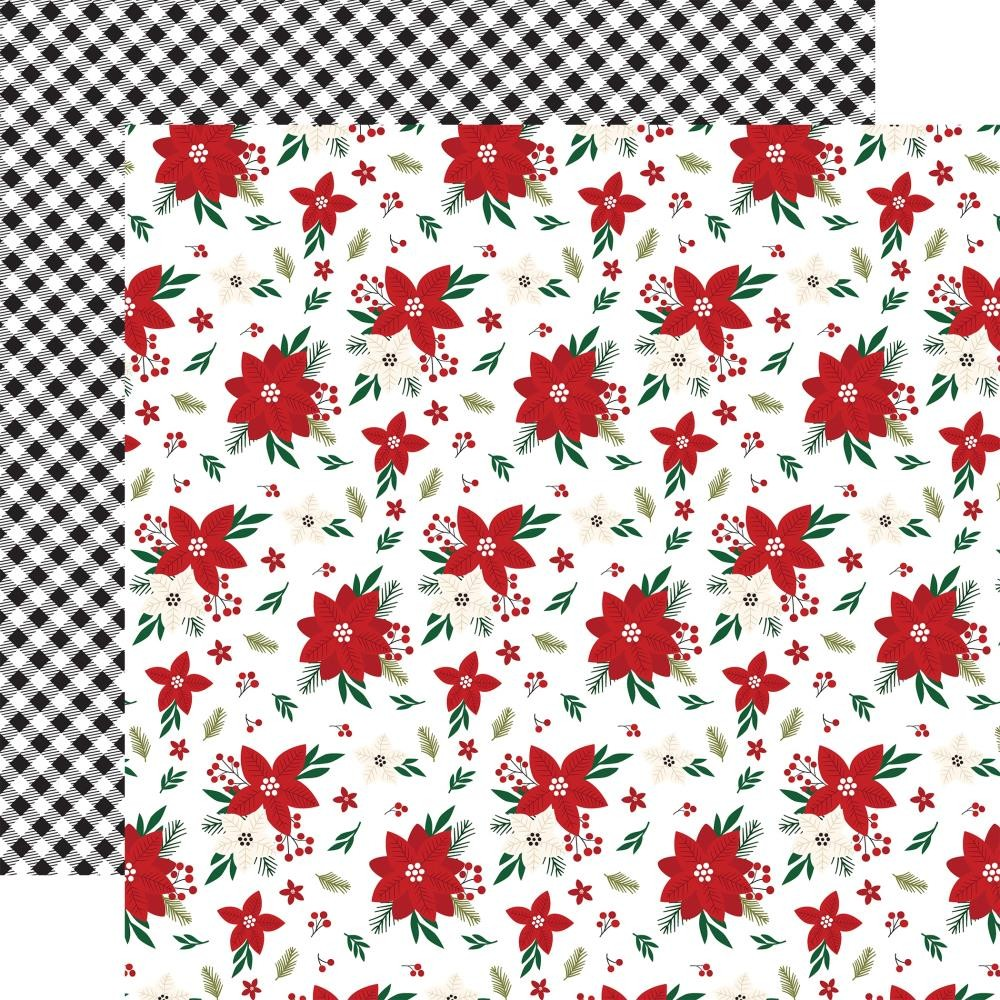 Papel Estampado Doble Cara 12x12 A Gingerbread Christmas Poinsettia