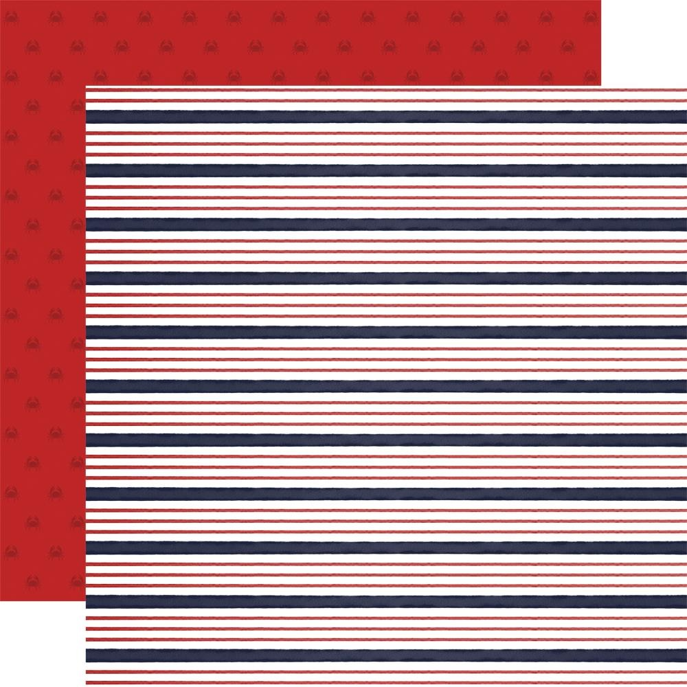 Papel Estampado Doble Cara 12x12 By The Sea Sailor Stripe