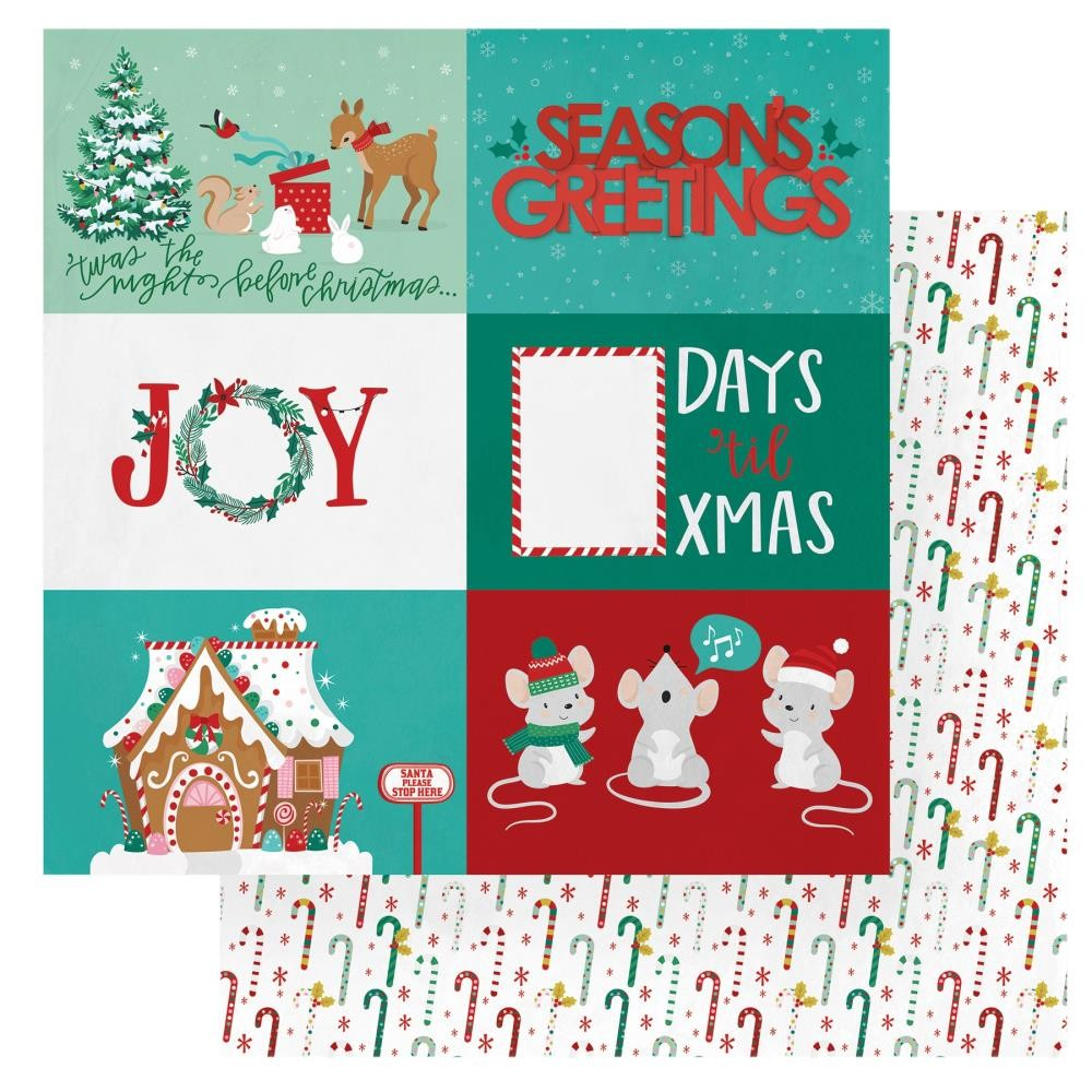 Papel Estampado Doble Cara 12x12 Christmas Cheer Seasons Greetings