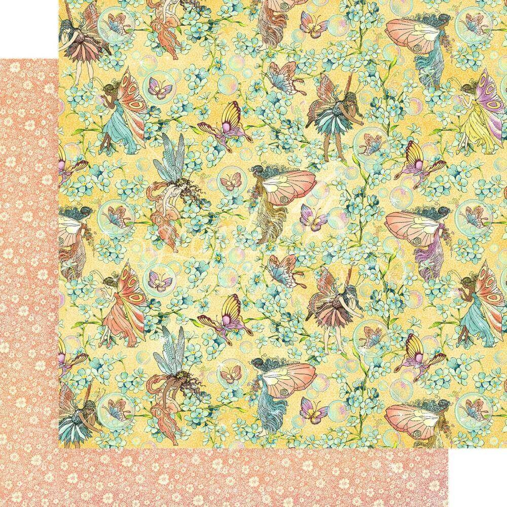 Papel Estampado Doble Cara 12x12 Fairie Wings Woodland Wishes