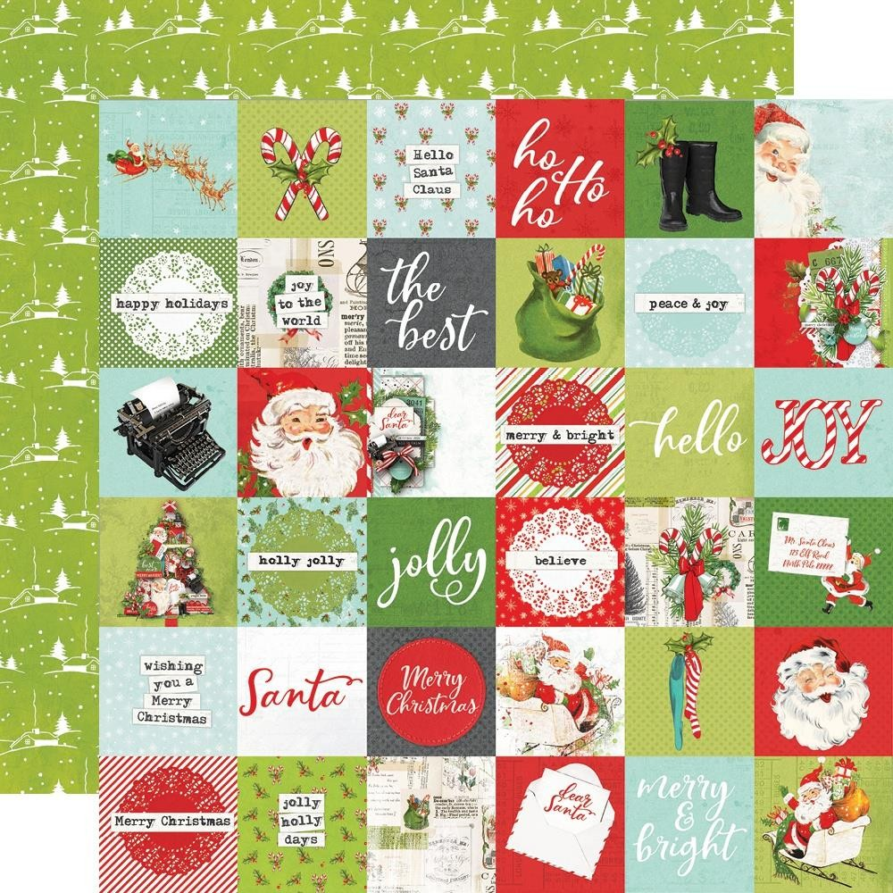 "Papel Estampado Doble Cara 12x12 Simple Vintage North Pole 2""X2"" Elements"
