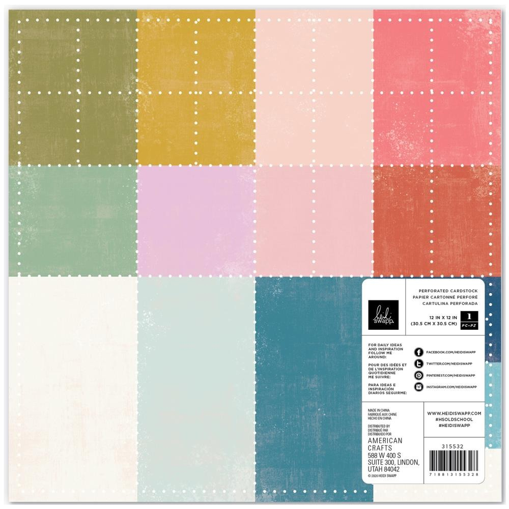 Papel Perforado 12x12 Old School Perforated Color Cardstock