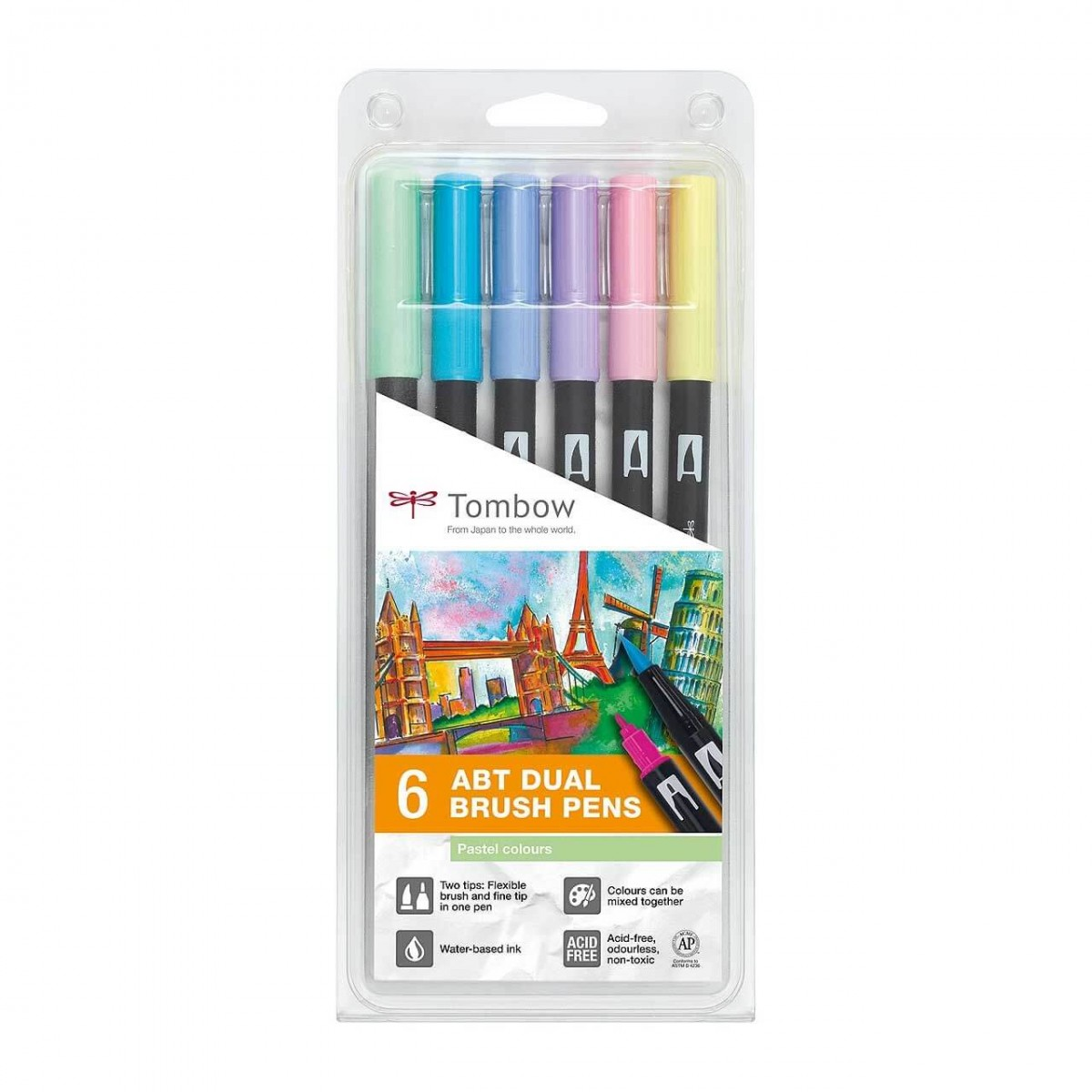 Set 6 Rotuladores Tombow Dual Brush Colores Pastel