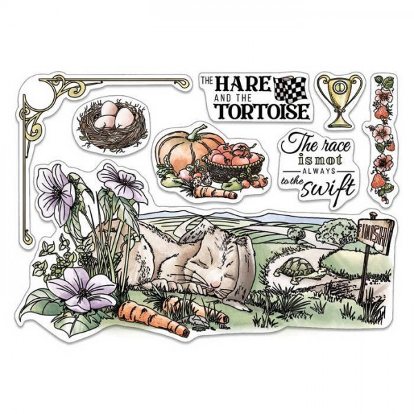 Sello Acrílico 6x8 Aesop's Fables The Hare and the Tortoise